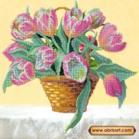 Абрис Арт АС-188 Корзина тюльпанов. Рисунок на холсте