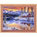 Алмазная живопись АЖ-1290 Зимний домик у реки