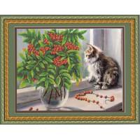 Конёк НИК 9662 Рябина и котенок. Схема для вышивания бисером