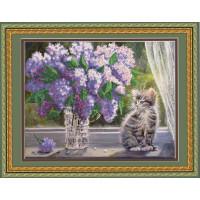 Конёк НИК 9663 Сирень и котенок. Схема для вышивания бисером