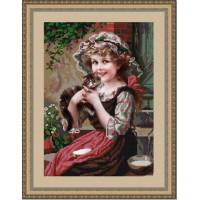 Конёк НИК 9727 Девочка с котенком. Схема для вышивания бисером