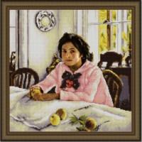 Конёк НИК 9824 Девочка с персиками (В.Серов). Схема для вышивания бисером