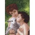 Матренин Посад 1616 Дети и овечка. Рисунок на канве