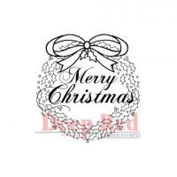 "Deep Red Stamps 3x403202 Резиновый штамп ""Christmas Wreath with Sentiment"""