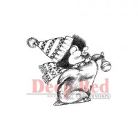 "Deep Red Stamps 3x403207 Резиновый штамп ""Penguin with Ornament"""