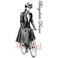 "Deep Red Stamps 3x404276 Резиновый штамп ""Bicyclist Lady"""