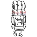 """Deep Red Stamps 3x405027 Резиновый штамп """"Back Country Hiker"""""""