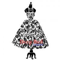 "Deep Red Stamps 3x504205 Резиновый штамп ""Dress Form Flourish"""