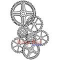 """Deep Red Stamps 3x504230 Резиновый штамп """"Gears Background"""""""