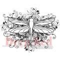 "Deep Red Stamps 4x501108 Резиновый штамп ""Dragonfly Flourish"""