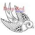 "Deep Red Stamps 4x504242 Резиновый штамп ""Steampunk Sparrow"""