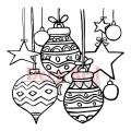 """Deep Red Stamps 4x504429 Резиновый штамп """"Christmas Stars and Balls"""""""