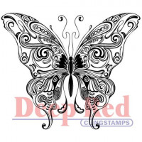 """Deep Red Stamps 4x505006 Резиновый штамп """"Butterfly Swirl"""""""
