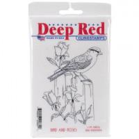 "Deep Red Stamps 4x604004 Резиновый штамп ""Bird and Roses"""
