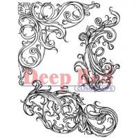"Deep Red Stamps 4x605036 Резиновый штамп ""Fleur Scroll"""