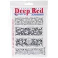 "Deep Red Stamps 5x703031 Резиновый штамп ""Carved Botanical Borders"""