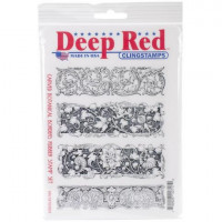 "Deep Red Stamps 5x703031 Резиновый штамп ""Carved Botanical Borders"""