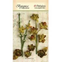 """Petaloo 1100-201 Набор цветов бумажных """"Floral Ephemera- Moss Green"""" (болотный)"""