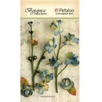 """Petaloo 1100-216 Набор цветов бумажных """"Floral Ephemera- GreyBlue"""" (серо-голубой)"""