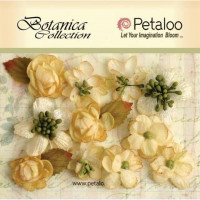 """Petaloo 1101-001 Набор цветов бумажных """"Botanica Minis - All Ivor"""" (слоновая кость)"""