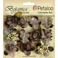 """Petaloo 1101-110 Набор цветов бумажных """"Botanica Minis - Charcoa"""" (пепельный)"""