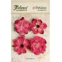 """Petaloo 1200-212 Набор цветов из ткани """"Burlap Blossoms - Fuschia"""""""