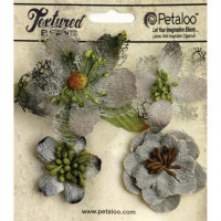"Petaloo 1256-210 Набор цветов из ткани ""Mixed Textured Blossoms"" (серый)"