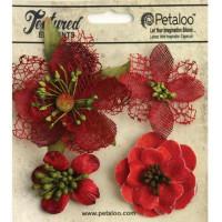 "Petaloo 1256-212 Набор цветов из ткани ""Mixed Textured Blossoms"" (красный)"