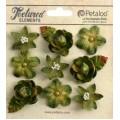 "Petaloo 1263-201 Набор цветов из ткани ""Mixed Textured Mini Blossoms"" (болотный)"