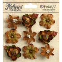 "Petaloo 1263-202 Набор цветов из ткани ""Mixed Textured Mini Blossoms"" (мокка)"