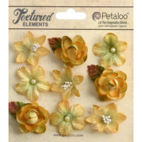 "Petaloo 1263-203 Набор цветов из ткани ""Mixed Textured Mini Blossoms"" (янтарь)"