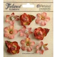 "Petaloo 1263-208 Набор цветов из ткани ""Mixed Textured Mini Blossoms"" (лосось)"