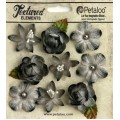 "Petaloo 1263-210 Набор цветов из ткани ""Assorted Blossoms"" (серый)"