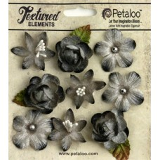"Набор цветов из ткани ""Assorted Blossoms"" (серый) (арт. 1263-210)"