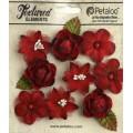 """Petaloo 1263-212 Набор цветов из ткани """"Assorted Blossoms - Red"""""""