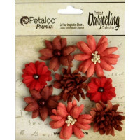 "Petaloo 1462-101 Набор цветов бумажных ""Darjeeling Mini Mix - Teas Red"""