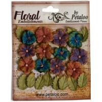 "Petaloo 1465-003 Набор цветов бумажных ""Darjeeling Petites - Blue"""