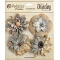 """Petaloo 1479-137 Набор цветов бумажных """"Wild Blossoms - Soft Grey""""  (светло-серый)"""