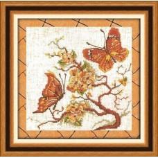 Набор для вышивания 182 Бабочки на красной ветке (коричневые)
