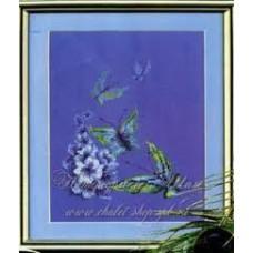 Набор для вышивания 197 Бабочки на синем
