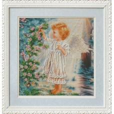 Набор для вышивания Б-555 Ангелочек и розовый куст