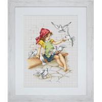 Luca-S B1051 Девочка с голубями