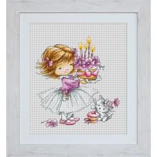 Набор для вышивания B1054 Девочка с котенком и тортиком