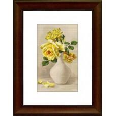 Набор для вышивания G508 Жёлтые розы в вазе