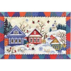 Набор для вышивания ДЕ-1135 Деревня Снегири