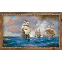 """Риолис 1154 Бриг """"Меркурий"""", атакованный двумя турецкими кораблями по мотивам картины И.Айвазовского"""