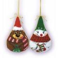 """Риолис 927 Новогодние игрушки -2 шт """"Снеговик и медведь"""""""