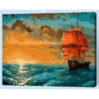 Allegro 4267 Картина по номерам 30*40 в раме Алые паруса на закате Е603 (24 цветов, 4 звезды)