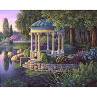 Allegro 3678 Картина по номерам 40*50 в раме Беседка у озера 0430