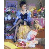 Allegro 4249 Картина по номерам 40*50 в раме Дама с собачкой Е504 (28 цветов, 4 звезды)